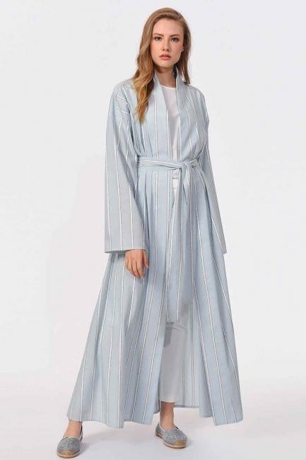 Mizalle - Sim Striped Kimono (Blue)