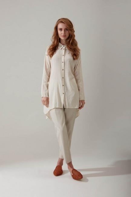 Mizalle - Sim Striped Linen Shirt Blouse (Ecru)