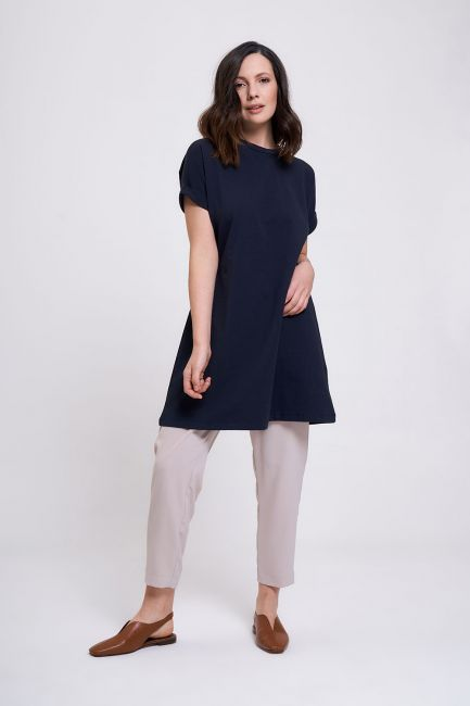 Mizalle - Sleeve Fold Tunic T-Shirt (Navy Blue)