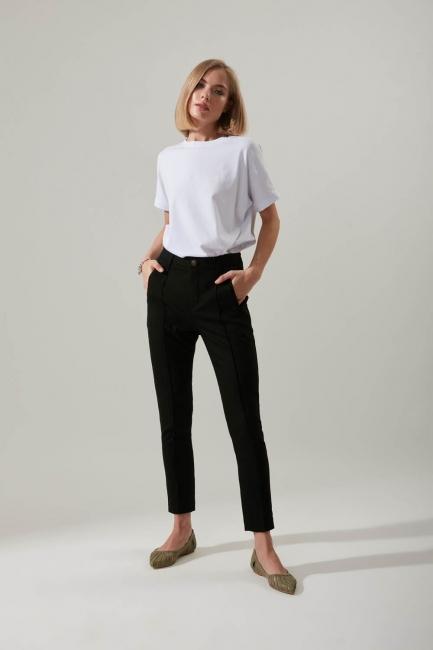 Mizalle - Slim Leg Fabric Trousers (Black)