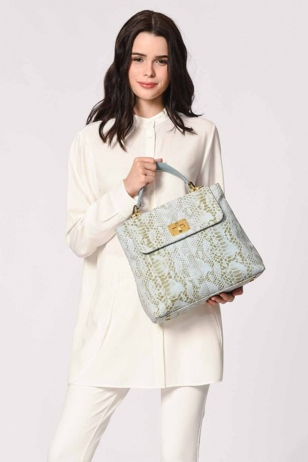 Mizalle - Snake Patterned Leather Clutch Bag (Blue) (1)
