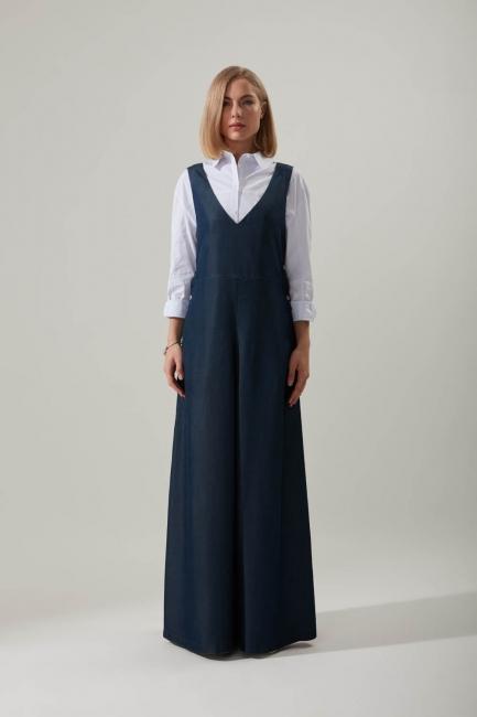 Mizalle - Snap Fastener Indigo Gilet Dress