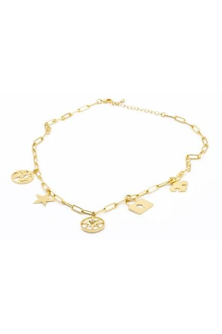 Mizalle - Star Pendant Chain Necklace (Yellow)