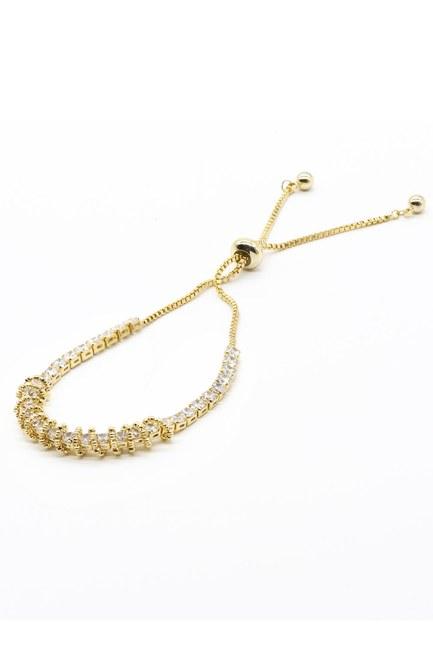 Mizalle - Stone and Chain Detailed Bracelet (Yellow)