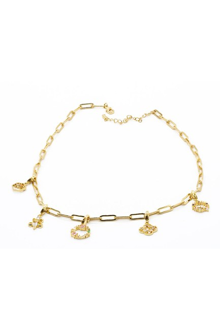 Mizalle - Stoned Chain Necklace (Yellow)