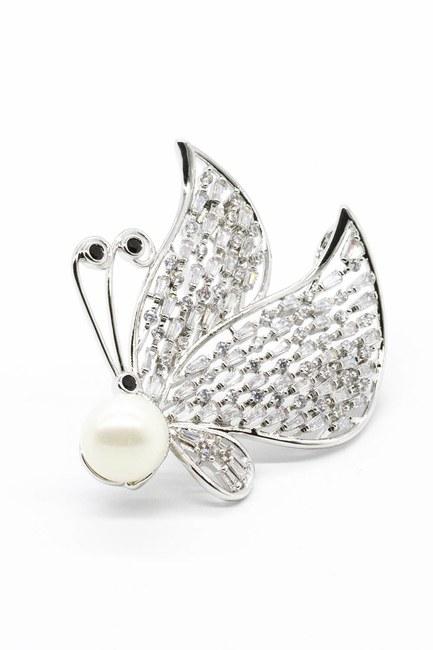 Mizalle - Stoned Wing Brooch (Grey)