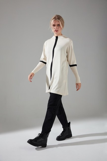 Mizalle - Stripe Detailed Tricot Tunic (Ecru)