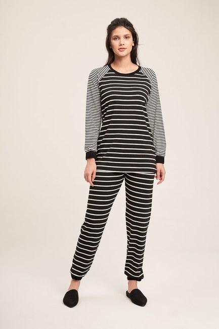 Mizalle - Striped Camisole Pajamas Set (Black)
