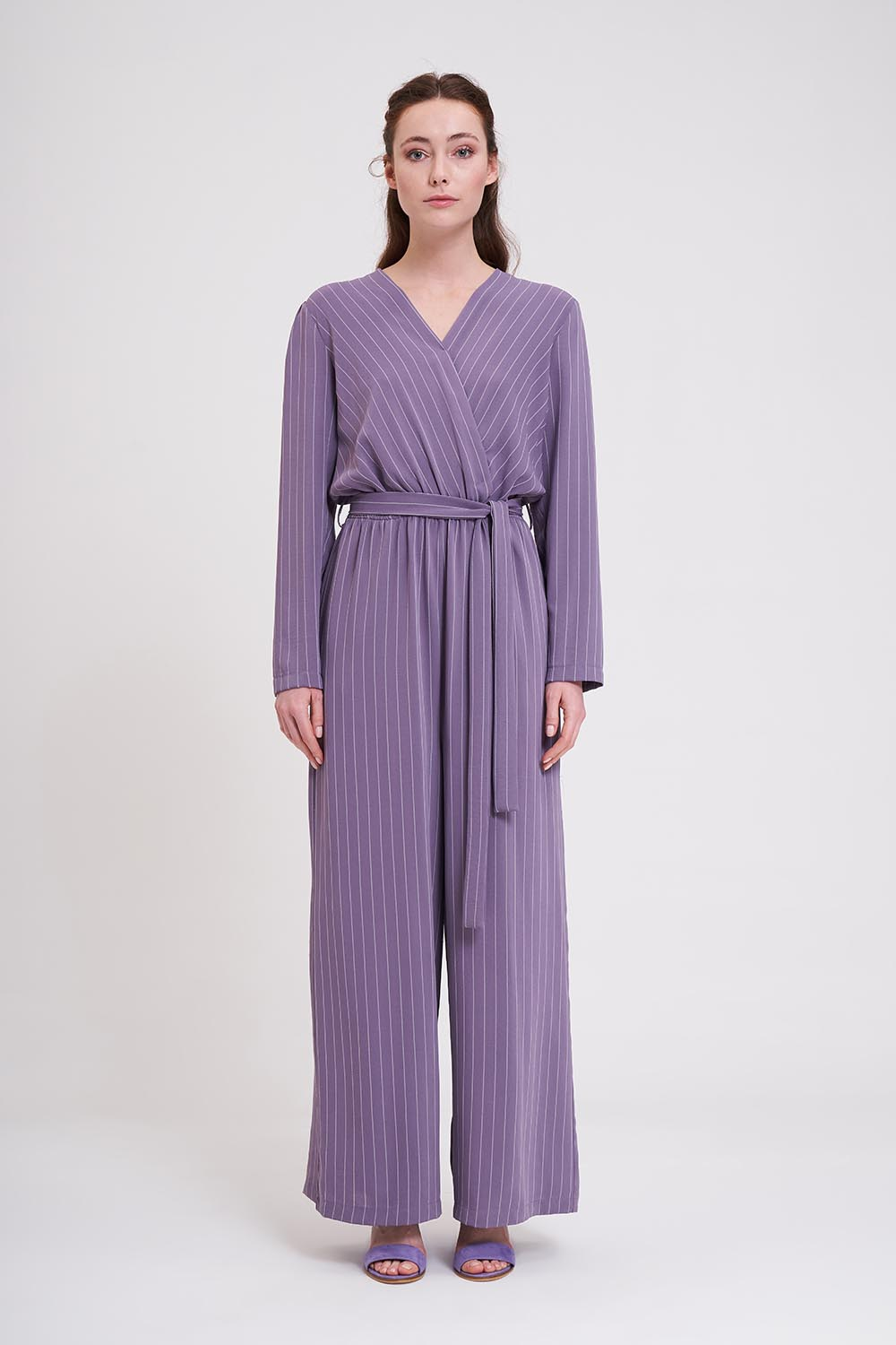 Mizalle - Striped Jumpsuit (Lilac)