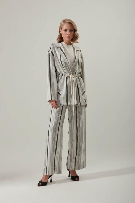 Mizalle - Striped Linen Jacket (Grey)