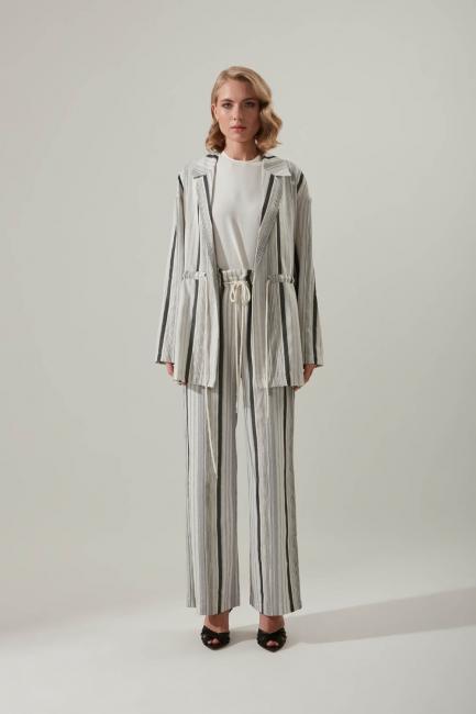 Mizalle - Striped Linen Trousers (Grey)