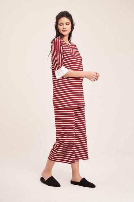 Mizalle - Striped Pajama Set (Claret Red)
