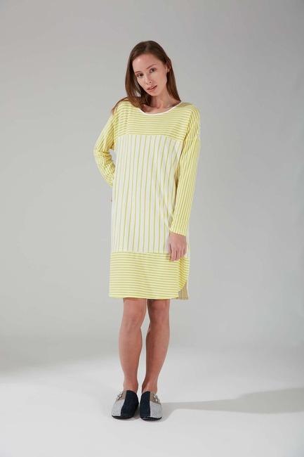 Mizalle - Striped Piece Nightgown (Yellow)