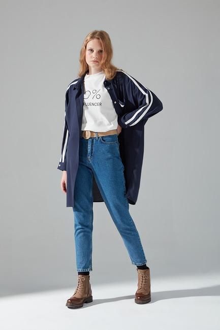 Mizalle - Striped Shirt (Navy Blue)