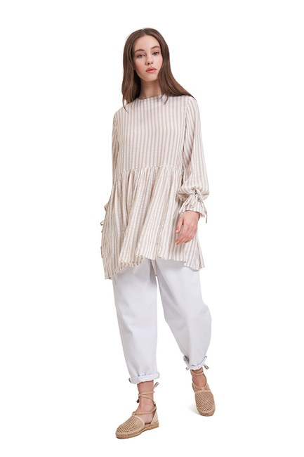 Mizalle - Striped Sleeve Tied Blouse (Beige)