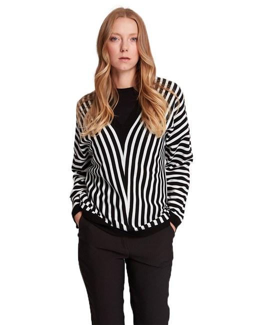Mizalle - Striped V Neck Sweater (Black/White)