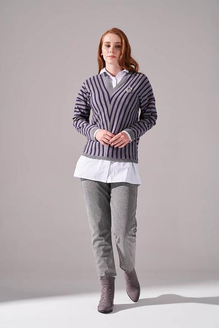 Mizalle - Striped V Neck Sweater (Grey/Purple)