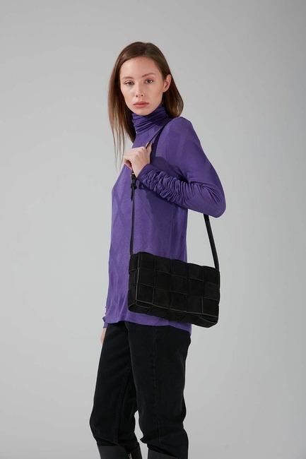 Mizalle - Suede Braided Shoulder Bag (Black)