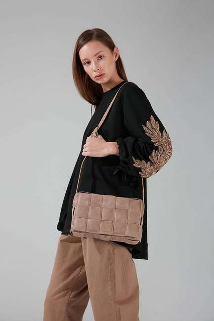 Mizalle - Suede Braided Shoulder Bag (Mink)