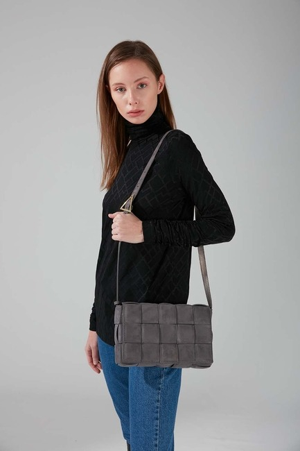 Mizalle - Suede Braided Shoulder Bag (Smoked)