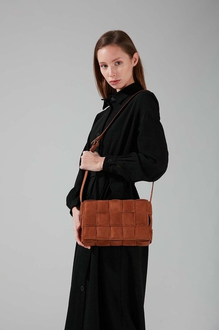 Mizalle - Suede Braided Shoulder Bag (Tan)