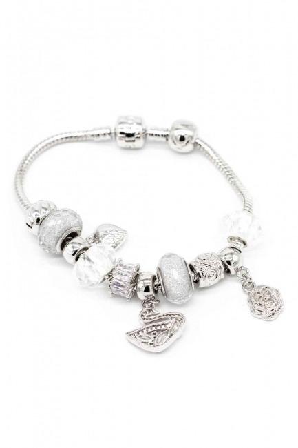 Mizalle - Swan Shaped Bracelet (White)