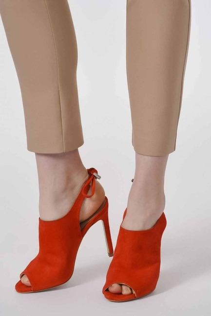 Mizalle - Thin Heel Suede Leather Shoes (Orange-Red)