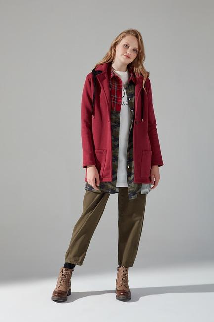 Mizalle - Three Yarn Jacket (Claret Red)