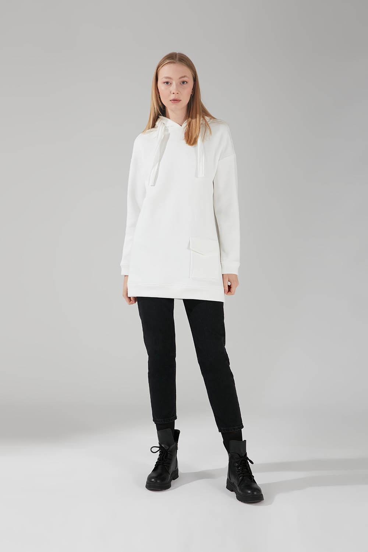 Mizalle - Three Yarn Pocket Sweatshirt (Ecru)