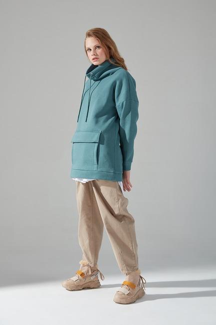 Mizalle Youth - Three Yarn Sweatshirt (Almond Green) (1)