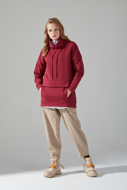 Mizalle - Three Yarn Sweatshirt (Claret Red)