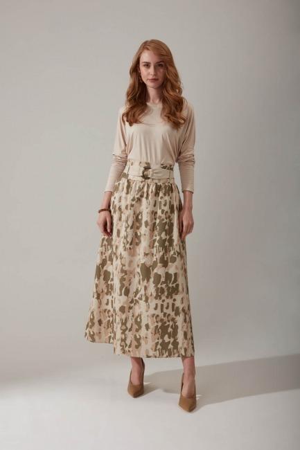 Mizalle - Tie Dye Patterned Skirt (Khaki)