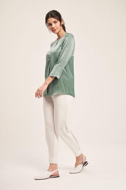 Trim Buttoned Blouse (Green) - Thumbnail