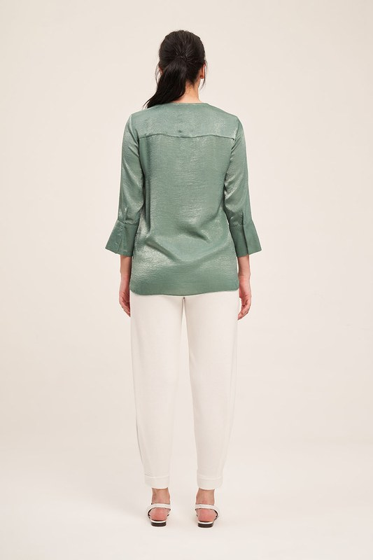 Trim Buttoned Blouse (Green)