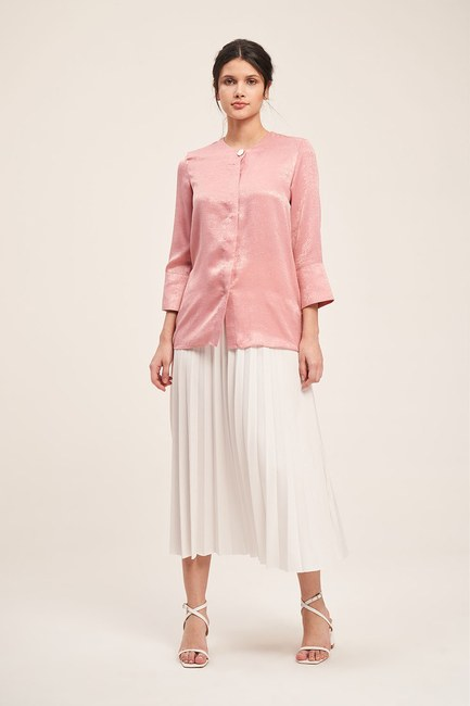 Mizalle - Trim Buttoned Blouse (Pink)
