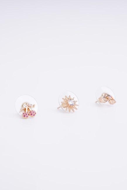 Mizalle - Triple Small Earrings (Yellow)