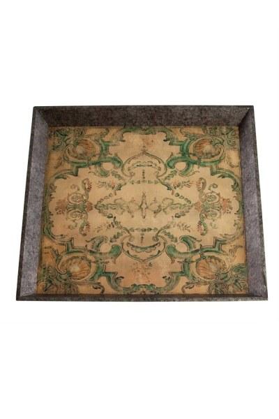 Mizalle Home - Turquoise Motive Wooden Tray