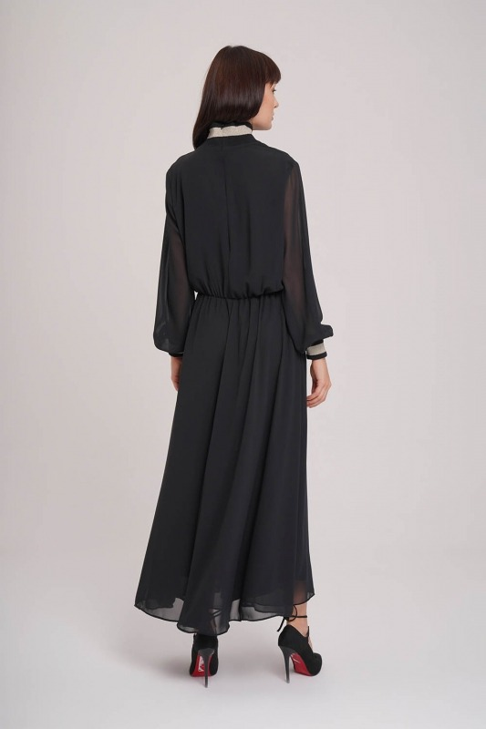 Turtleneck Chiffon Dress (Black)