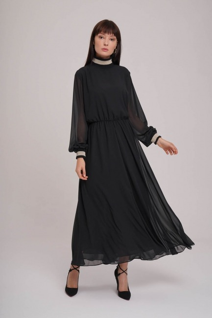 Turtleneck Chiffon Dress (Black) - Thumbnail