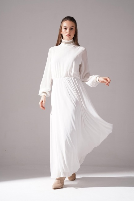 Mizalle - Turtleneck Chiffon Dress (Ecru)