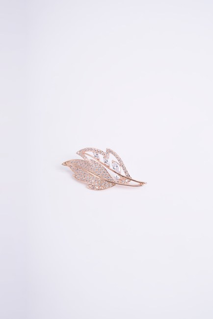 Mizalle - Two Leaf Brooch (Yellow)