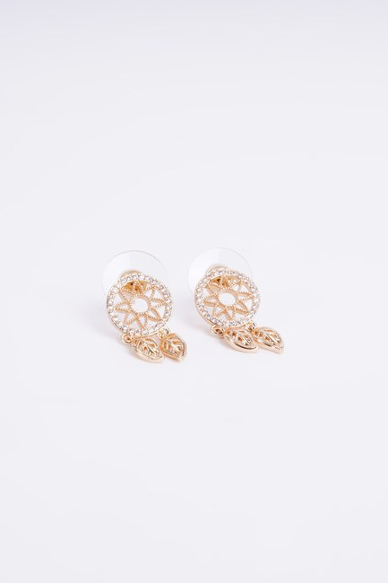 Mizalle - Two Leaf Detailed Earrings (Yellow)