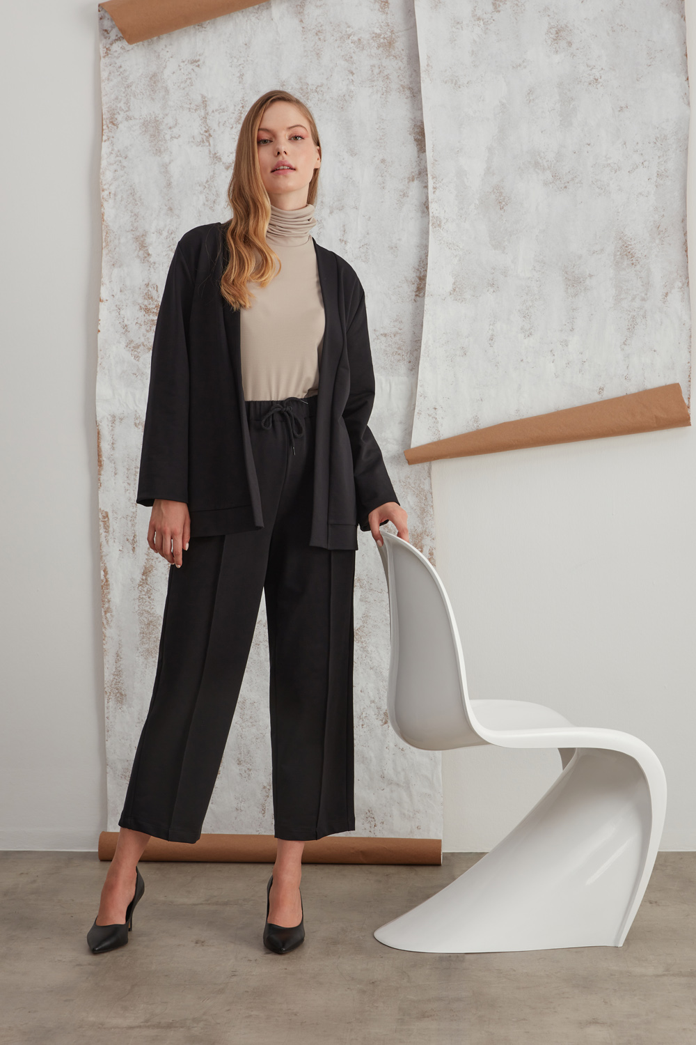 Two Thread Black Trousers with Rib Stitching