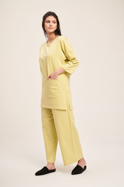 Mizalle - Two Yarn Pocketed Pajama Set (Pistachio Green)
