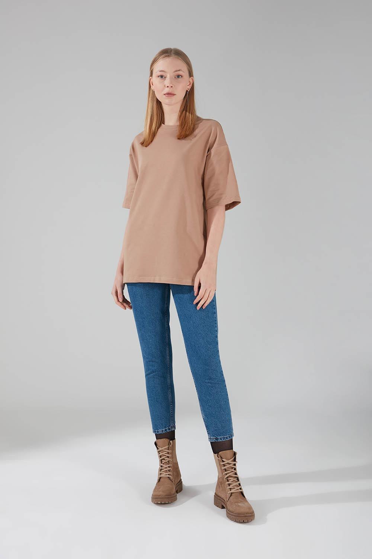 Mizalle - Two Yarn Short Sleeve T-Shirt (Beige)