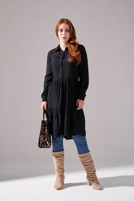 Mizalle - Viscose Patterned Shirt Dress (Black)