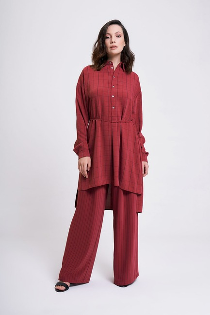 Mizalle - Waist Lace Up Tunic (Plum)