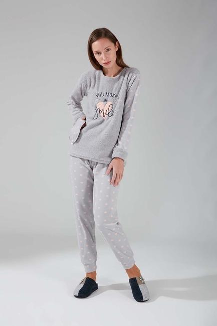 Mizalle - Wellsoft Fleece Pajamas Set (Grey)