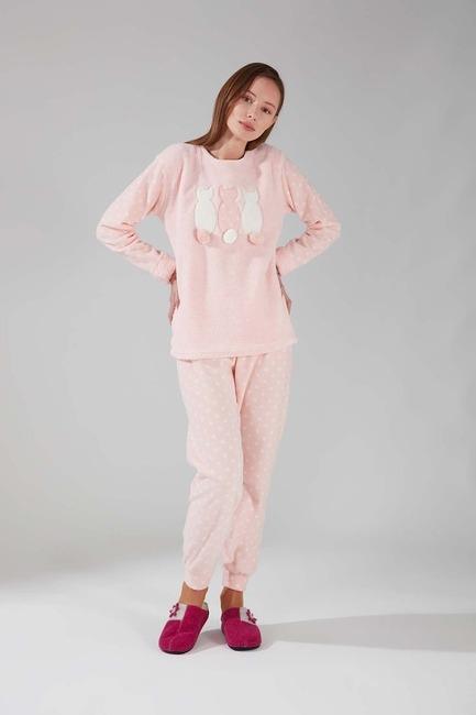 Mizalle - Wellsoft Fleece Pajamas Set (Pink)