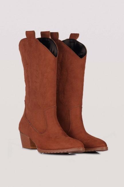 Mizalle - Western Suede Boots (Camel)